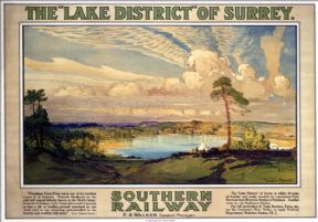 The Lake District of Surrey, Frensham. Vintage SR Travel Poster by Donald Maxwell